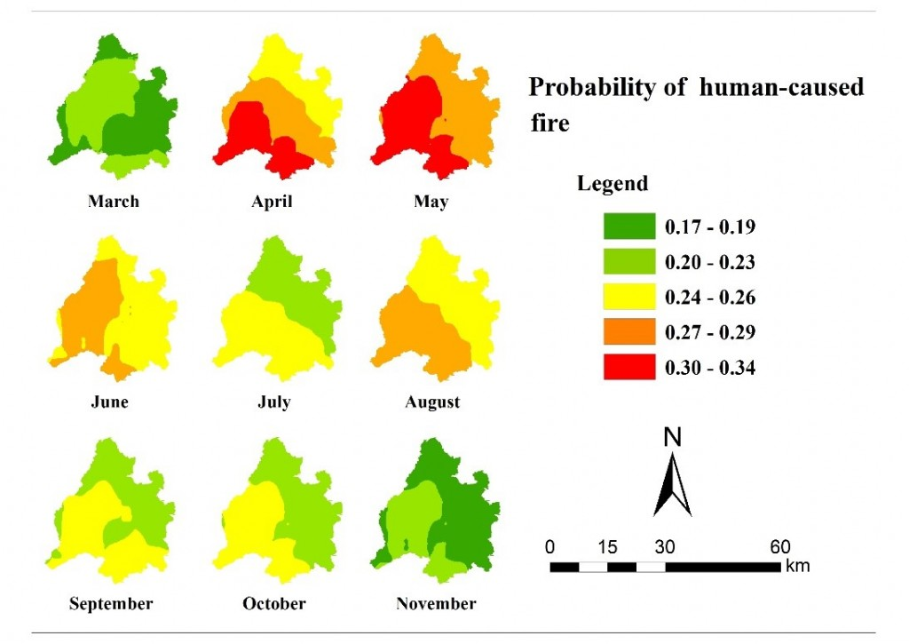 probability of human caused fire daxingan